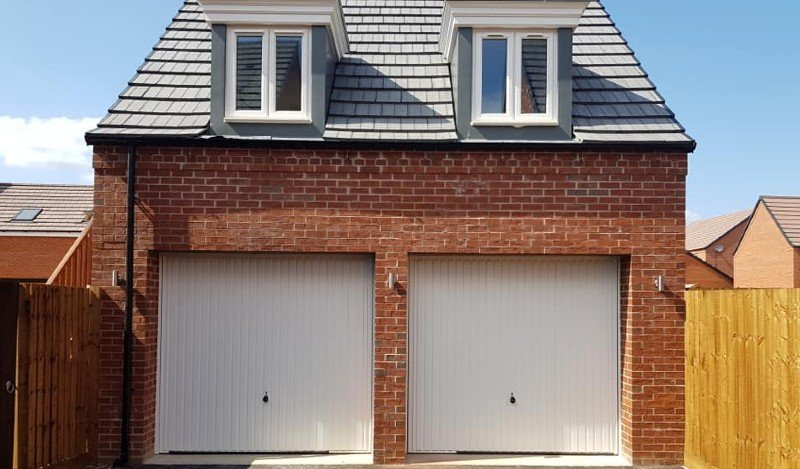 Domestic garage and driveway