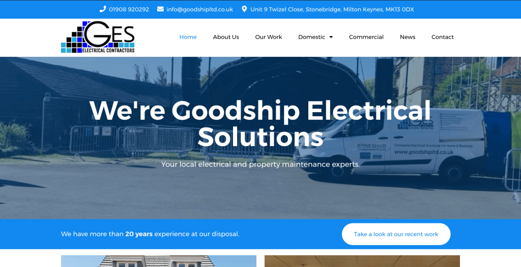 New GES Ltd website homepage