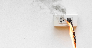 Electrical fire on a socket in a home